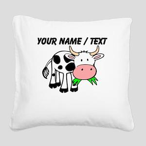Custom Cartoon Cow Square Canvas Pillow