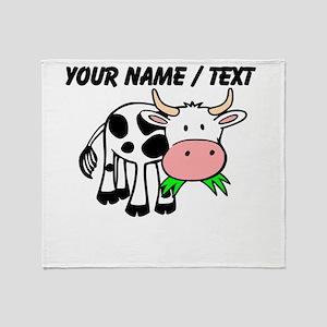 Custom Cartoon Cow Throw Blanket