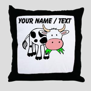 Custom Cartoon Cow Throw Pillow