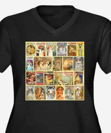 Art Nouveau Advertisements Collage Plus Size T-Shi