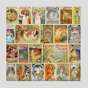 Art Nouveau Advertisements Collage Tile Coaster