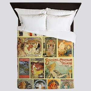 Art Nouveau Advertisements Collage Queen Duvet