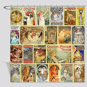 Art Nouveau Advertisements Collage Shower Curtain