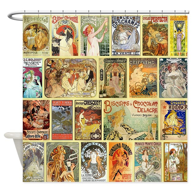 Art Nouveau Advertisements Collage Shower Curtain By VintageLevelDesigns