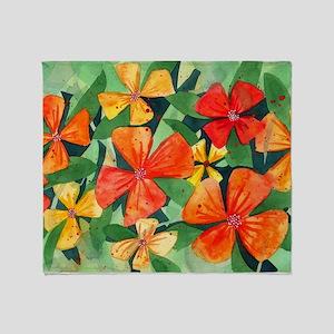 Tropical Flower Splash Throw Blanket