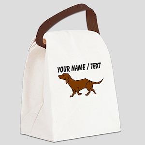 Custom Brown Daschund Canvas Lunch Bag