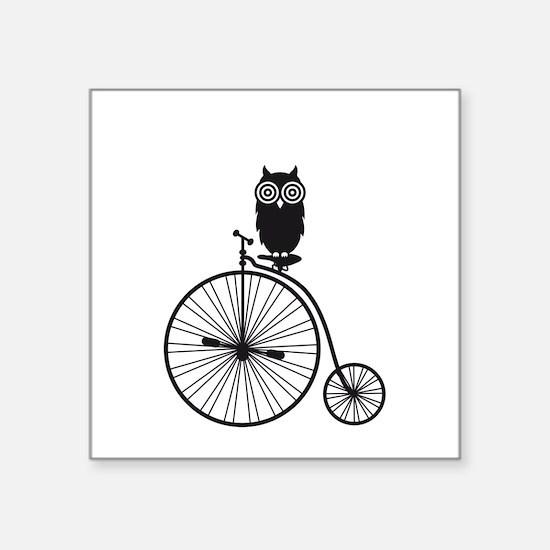 owl on old vintage bicycle Sticker