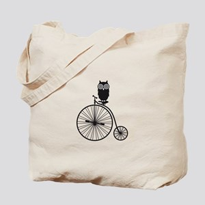 owl on old vintage bicycle Tote Bag