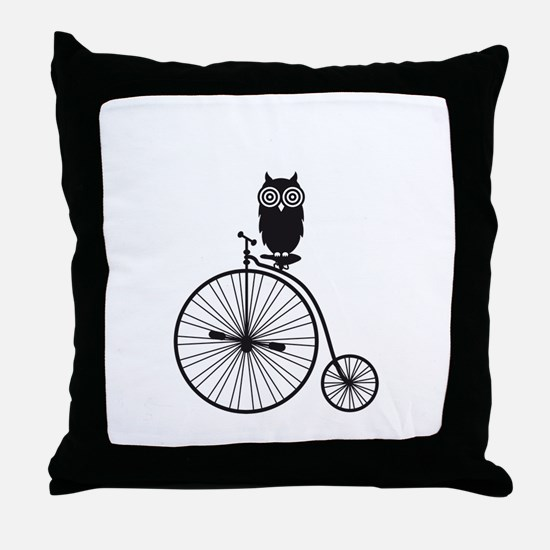 owl on old vintage bicycle Throw Pillow