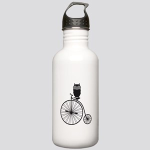 owl on old vintage bicycle Water Bottle