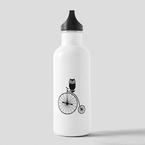 owl on old vintage bicycle Water Bottle