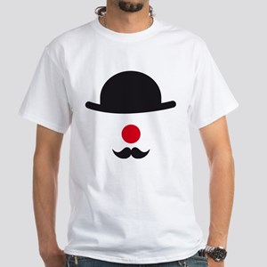 hat, red nose and mustache, clown face design T-Sh