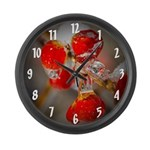 Viburnum Berries Covered with Ice Large Wall Clock