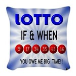 winning lotto numbers Woven Throw Pillow