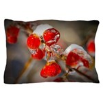 Viburnum Berries Covered with Ice Pillow Case