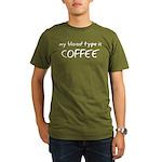 My Blood Type Is Coffee Organic Men's T-Shirt (dar