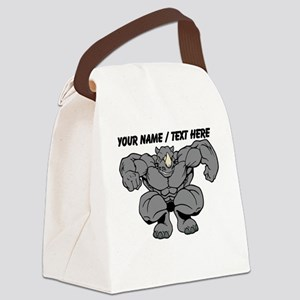 Custom Rhino Mascot Canvas Lunch Bag