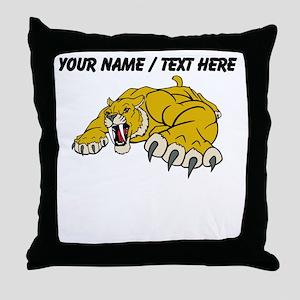 Custom Saber Tooth Tiger Mascot Throw Pillow