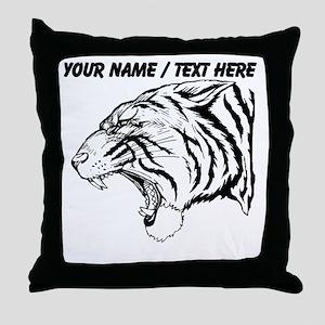 Custom Angry Tiger Throw Pillow
