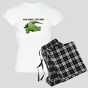 Custom Green Alligator Cartoon Pajamas