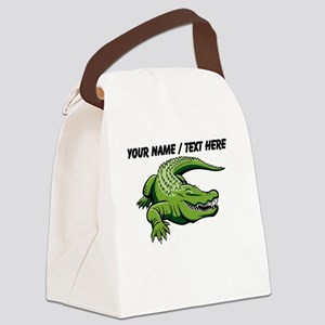 Custom Green Alligator Cartoon Canvas Lunch Bag