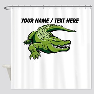 Custom Green Alligator Cartoon Shower Curtain