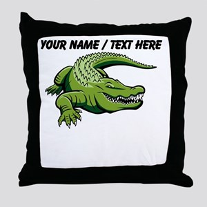 Custom Green Alligator Cartoon Throw Pillow