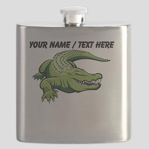 Custom Green Alligator Cartoon Flask