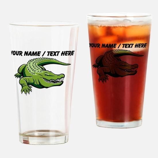 Custom Green Alligator Cartoon Drinking Glass