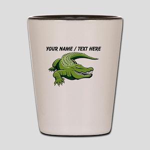 Custom Green Alligator Cartoon Shot Glass