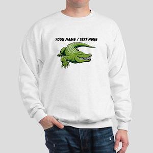 Custom Green Alligator Cartoon Sweatshirt