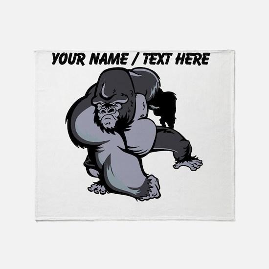 Custom Gorilla Mascot Throw Blanket