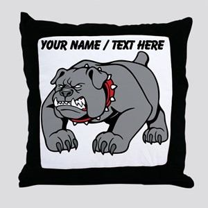 Custom Angry Bulldog Throw Pillow