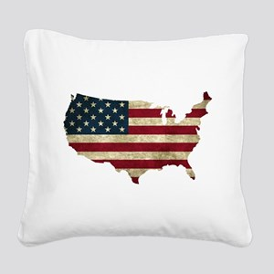 Vintage USA Square Canvas Pillow