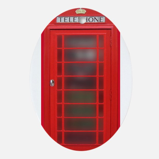 British Phone Booth Ornament (Oval)
