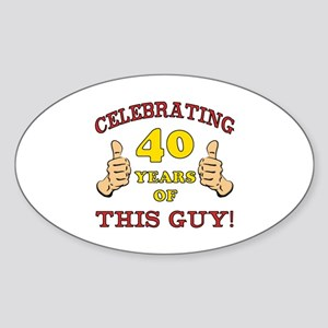 40th Birthday Gift For Him Sticker (Oval)