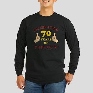 70th Birthday Gift For Him Long Sleeve Dark T-Shir