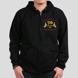 70th Birthday Gift For Him Zip Hoodie (dark)