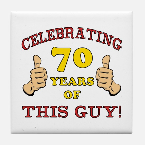 70th Birthday Gift For Him Tile Coaster