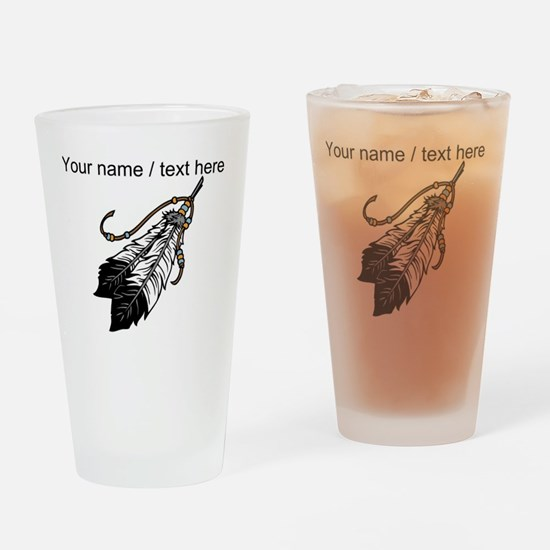 Custom Native American Feathers Drinking Glass