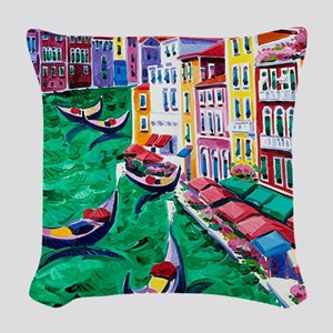 Venice Painting Woven Throw Pillow