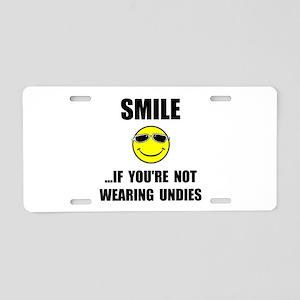 Smile Undies Aluminum License Plate