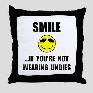 Smile Undies Throw Pillow