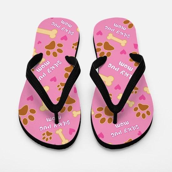 Silky Pug Mom Gift Flip Flops