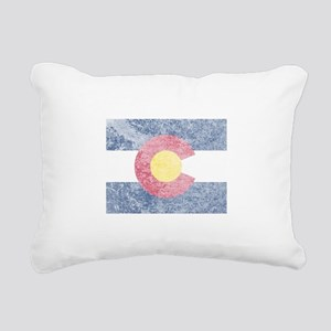 Vintage Colorado Flag Rectangular Canvas Pillow