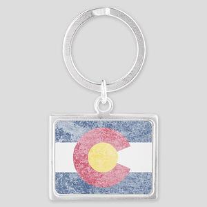 Vintage Colorado Flag Landscape Keychain