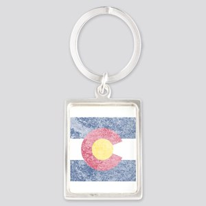 Vintage Colorado Flag Portrait Keychain