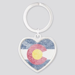 Vintage Colorado Flag Heart Keychain