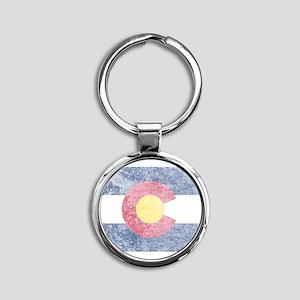 Vintage Colorado Flag Round Keychain