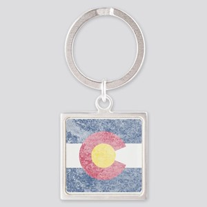 Vintage Colorado Flag Square Keychain
